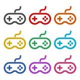 Icône de contrôleur ou de gamepad de jeu vidéo ou logo, ensemble de couleur illustration libre de droits