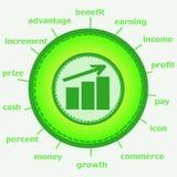 Icône de croissance d'argent Images stock
