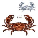 Icône de croquis d'isolement par vecteur de fruits de mer de homard de crabe illustration stock