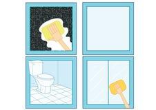 Icône de décapant de salle de bains et nettoyer le verre propre en verre propre de salle de bains illustration de vecteur