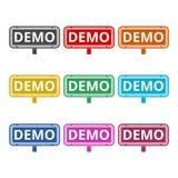 Icône de démo, icônes de couleur réglées Photographie stock libre de droits