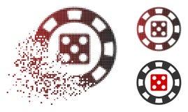 Icône de désintégration de Dot Halftone Dice Casino Chip Illustration de Vecteur