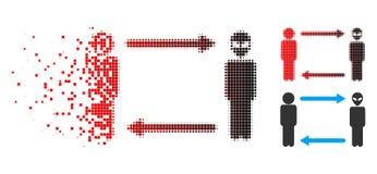 Icône de désintégration de Dot Halftone Man Exchange Alien illustration de vecteur