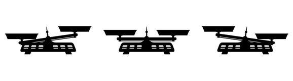 Icône de deux Pan Balance Different Weight Black illustration stock