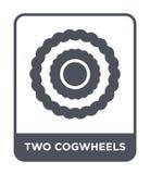 icône de deux roues dentées dans le style à la mode de conception icône de deux roues dentées d'isolement sur le fond blanc deux  illustration de vecteur