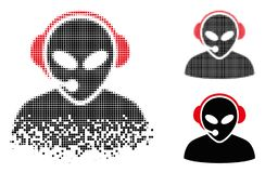 Icône de disparition de Dot Halftone Alien Call Center illustration stock