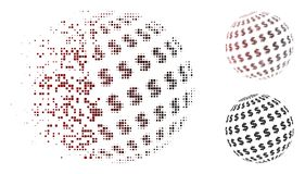 Icône de disparition de Dot Halftone Dollar Abstract Sphere Illustration de Vecteur