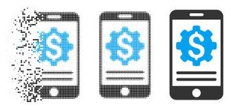 Icône de disparition de Dot Halftone Mobile Bank Options illustration stock