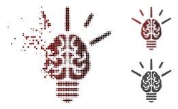 Icône de dissolution de Dot Halftone Brain Idea Bulb illustration libre de droits