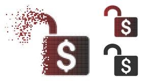 Icône de dissolution de Dot Halftone Open Banking Lock Illustration Stock