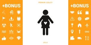 Icône de femme enceinte avec le coeur illustration de vecteur