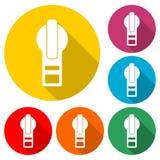 Icône de fermeture éclair ou logo, style simple, fermeture éclair Clipart, ensemble de couleur avec la longue ombre illustration libre de droits