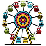Icône de Ferris Wheel Amusement Park Cartoon Images libres de droits