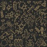 Icône de feu d'artifice d'aspiration de main réglée avec le pétard, les étoiles et la pyrotechnie Le festival et l'événement, cél illustration libre de droits