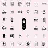Icône de feu de signalisation Ensemble universel d'icônes ferroviaires d'avertissements pour le Web et le mobile illustration stock