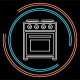 Icône de four de fourneau, cuisinière à gaz de vecteur, appareil de cuisson de cuisine illustration libre de droits