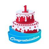 Icône de gâteau d'anniversaire dans le style de bande dessinée illustration stock