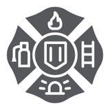 Icône de glyph d'emblème du feu, symbole et sapeur-pompier, signe d'insigne du feu, graphiques de vecteur, un modèle solide sur u illustration libre de droits