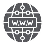 Icône de glyph d'Internet, site Web et globe, signe de réseau, graphiques de vecteur, un modèle solide sur un fond blanc illustration de vecteur
