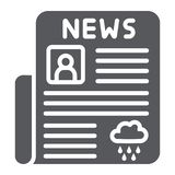 Icône de glyph de journal, page et presse, signe quotidien de nouvelles, graphiques de vecteur, un modèle solide sur un fond blan illustration de vecteur