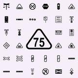 icône de l'indicateur 75 de limitation de vitesse Ensemble universel d'icônes ferroviaires d'avertissements pour le Web et le mob illustration libre de droits