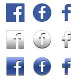 Icône de la lettre F Icône sociale de media Icône de Facebook illustration libre de droits