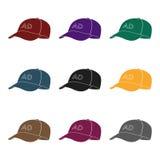 Icône de la publicité de casquette de baseball dans le style noir d'isolement sur le fond blanc Illustration de vecteur d'actions Images stock