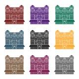 Icône de la Reine Victoria Building dans le style noir d'isolement sur le fond blanc Illustration de vecteur d'actions de symbole Images libres de droits