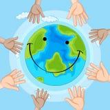 Icône de la terre d'émotion de sourire illustration stock