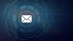 Icône de lettre de courrier d'adresse e-mail de projection de hud d'hologramme de main d'homme d'affaires illustration de vecteur