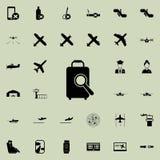 icône de loupe et de bagage Ensemble universel d'icônes d'aéroport pour le Web et le mobile illustration stock