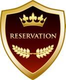 Icône de luxe de bouclier d'or de réservation illustration stock