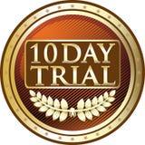 Icône de luxe d'essai de dix jours d'emblème d'or illustration libre de droits