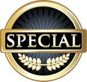 Icône de luxe de label de bouclier d'or spécial illustration stock