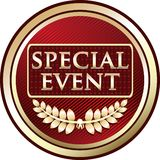 Icône de luxe rouge d'emblème d'événement spécial illustration stock