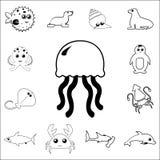 Icône de méduses Ensemble détaillé d'icônes d'ensemble d'animal de mer Icône de la meilleure qualité de conception graphique de q Image stock