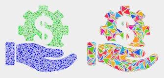 Icône de mosaïque de main de service bancaire de vecteur des éléments de triangle illustration de vecteur