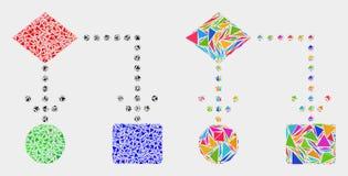 Icône de mosaïque de schéma fonctionnel de vecteur des éléments de triangle illustration de vecteur