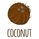 Icône de noix de coco, style tiré par la main illustration stock
