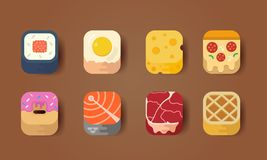 Icône de nourriture colorée illustration stock