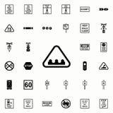 icône de panneau d'avertissement de bosse Ensemble universel d'icônes ferroviaires d'avertissements pour le Web et le mobile illustration libre de droits