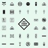 icône de panneau d'avertissement de klaxon de train Ensemble universel d'icônes ferroviaires d'avertissements pour le Web et le m illustration libre de droits