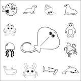 Icône de pastenague Ensemble détaillé d'icônes d'ensemble d'animal de mer Icône de la meilleure qualité de conception graphique d Image libre de droits