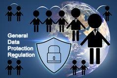 Icône de personnes et symbole de sécurité, UE du concept GDPR de protection des données illustration de vecteur