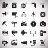 Icône de photographie et de vidéographie réglée sur le fond blanc pour le graphique et la conception web, signe simple moderne de illustration libre de droits