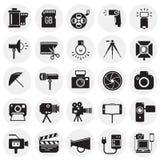 Icône de photographie et de vidéographie réglée sur le fond de cercles pour le graphique et la conception web, signe simple moder illustration stock