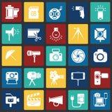 Icône de photographie et de vidéographie réglée sur le fond de places de couleur pour le graphique et la conception web, signe si illustration libre de droits