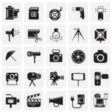 Icône de photographie et de vidéographie réglée sur le fond de places pour le graphique et la conception web, signe simple modern illustration de vecteur