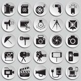 Icône de photographie et de vidéographie réglée sur le fond de plats pour le graphique et la conception web, signe simple moderne illustration stock