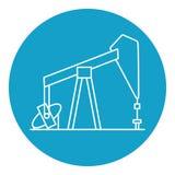 Icône de plate-forme pétrolière dans la ligne style mince Photos libres de droits